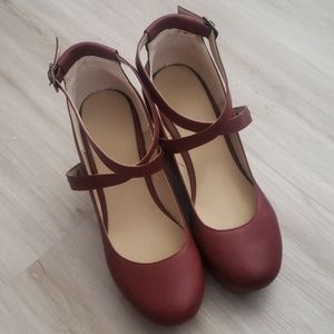 Shoes - Burgundy Cross Strap Mary Jane Wedges